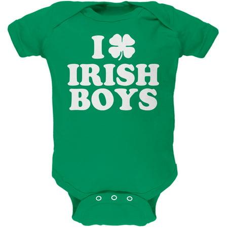 I Shamrock Love Irish Boys Green Soft Infant Bodysuit - Love Irish Boys Green