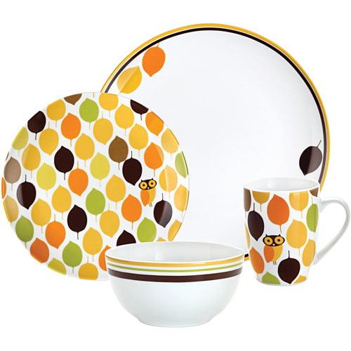 Rachael Ray Dinnerware Little Hoot 4 Piece Porcelain Dinnerware Set Print Walmart Com Walmart Com