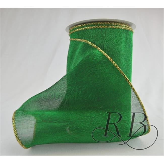 Ribbon Bazaar 390 2.5 in. Wired Metallic Sheer Jacquard Ribbon, Green - Gold Edge - 10 Yards