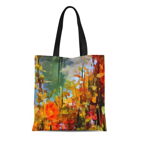 ASHLEIGH Canvas Tote Bag Orange Nature Abstract Autumn Floral Yellow Flowers Landscape Reusable Handbag Shoulder Grocery Shopping Bags