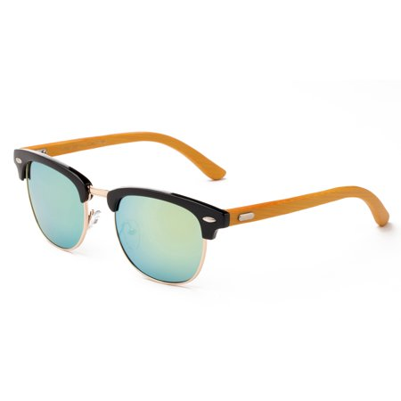 Modern Retro Fashion Real Bamboo Temple Fashion Sunglasses Flash Mirror  Lens Vintage Design for Men & for Women