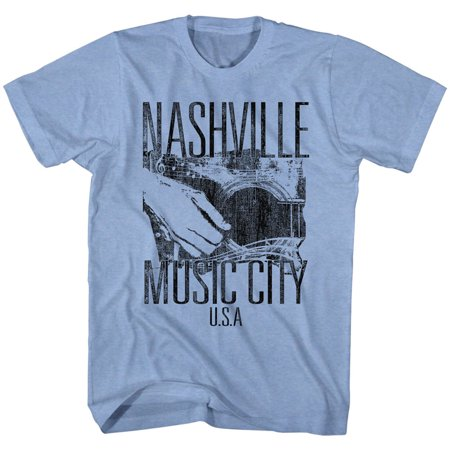 Nashville Tennessee Music City USA Guitar Adult T-Shirt Tee - Adult Stores Nashville