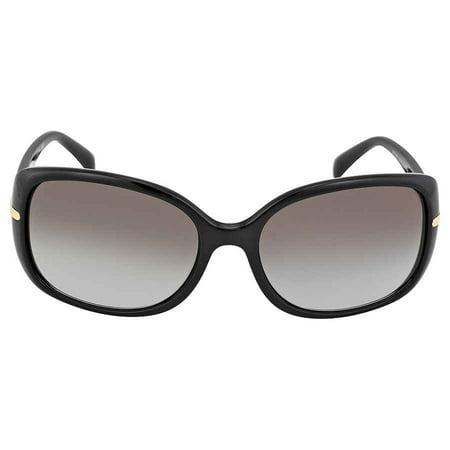 Prada 57mm Black Plastic Rectangular Sunglasses PR 08OS-1AB0A7-57