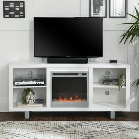 Manor Park Modern Fireplace Tv Stand For Tvs Up To 64 White