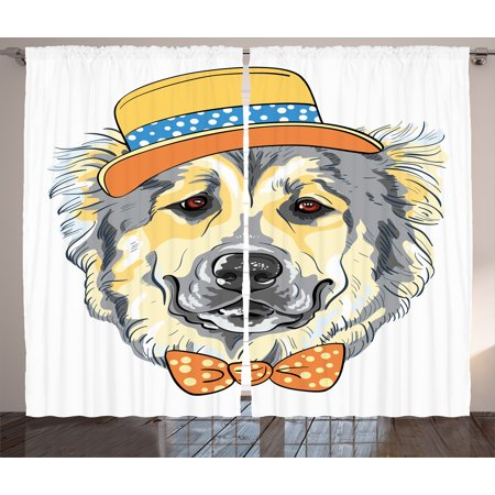 Animal Curtains 2 Panels Set, Cartoon Art Style Animal Theme Cute Dog in Hat and Bow Tie Illustration, Window Drapes for Living Room Bedroom, 108W X 108L Inches, Pale Yellow Pale Grey, by Ambesonne