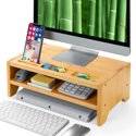 PERLESMITH 2 Tiers Bamboo Monitor Stand
