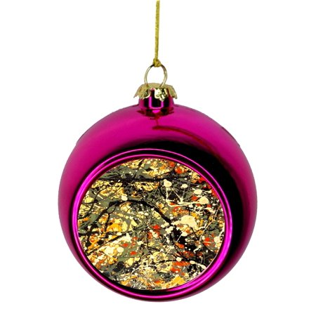 Artist Jackson Pollock's Modern Abstract Art Painting Bauble Christmas Ornaments Pink Bauble Tree Xmas Balls - Painting Christmas Ornaments