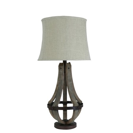 Wood and metal oblong table lamp
