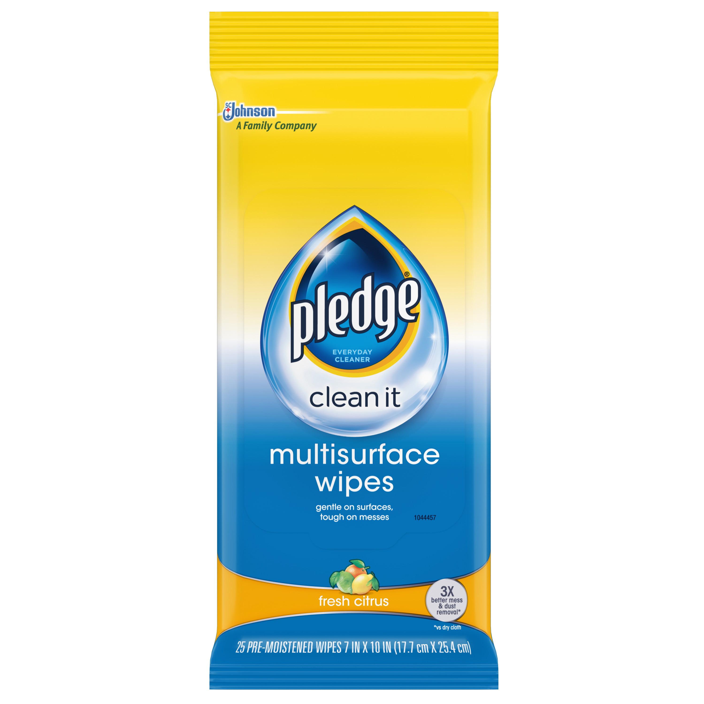 Pledge Multisurface Wipes, Fresh Citrus, 25 ct