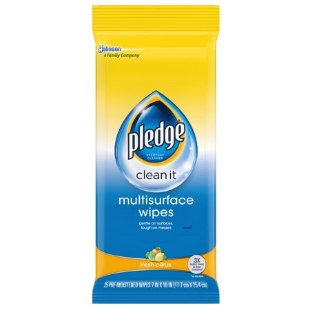 Pledge Multi-Surface Cleaner Wet Wipes, Cloth, 25 Ct