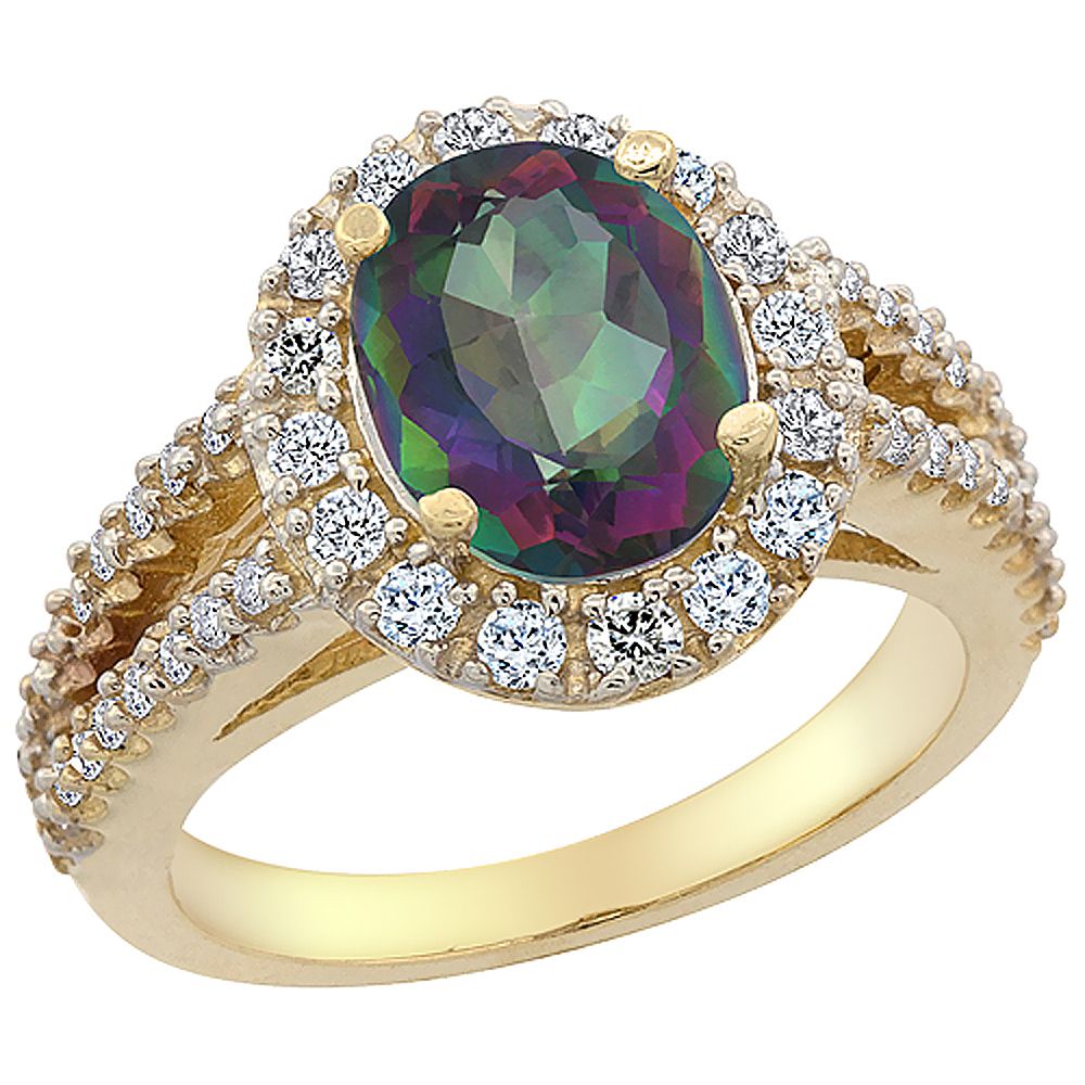 14K Yellow Gold Natural Diamond Mystic Topaz Engagement Ring Oval 10x8mm, size 5 by Gabriella Gold