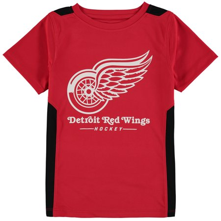 Detroit Red Wings Fanatics Branded Youth Lockup Poly Colorblock T-Shirt - Red Detroit Red Wings Tee