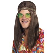Smiffys 28358 Brown Mens Hippie Kit with Headband Specs & Necklace