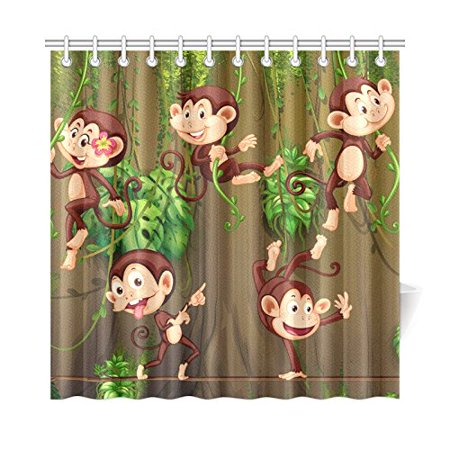Shower Monkey (MKHERT Monkeys Climbing on Vine Shower Curtain Home Decor Bathroom Shower Curtain 66x72)