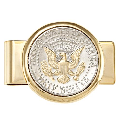 American Coin Treasures Selectively Gold-plated Presidential Seal JFK Half Dollar Goldtone Money Clip