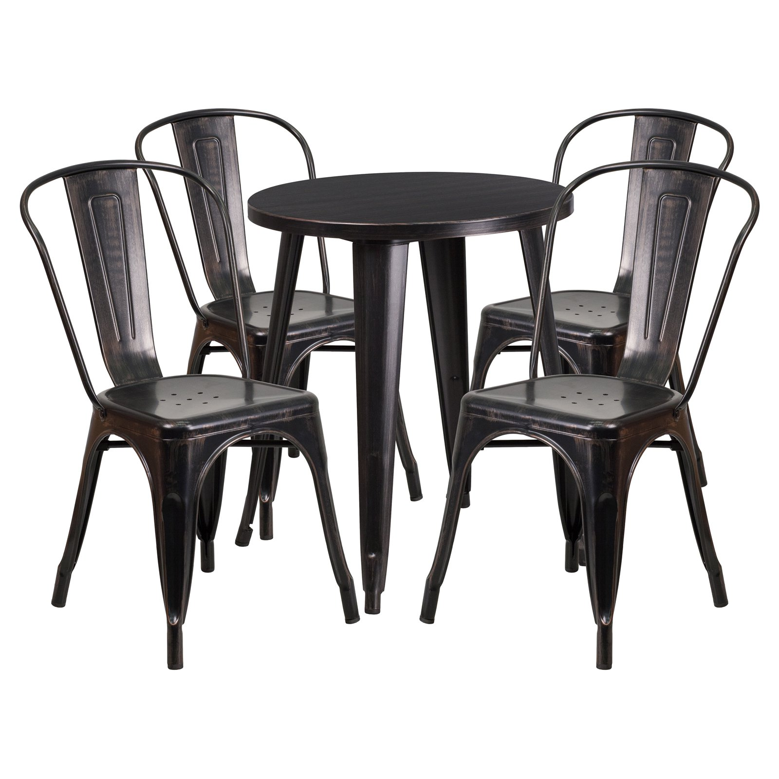 Flash Furniture 24'' Round Black-Antique Gold Metal Indoor-Outdoor Table Set with 4 Cafe Chairs
