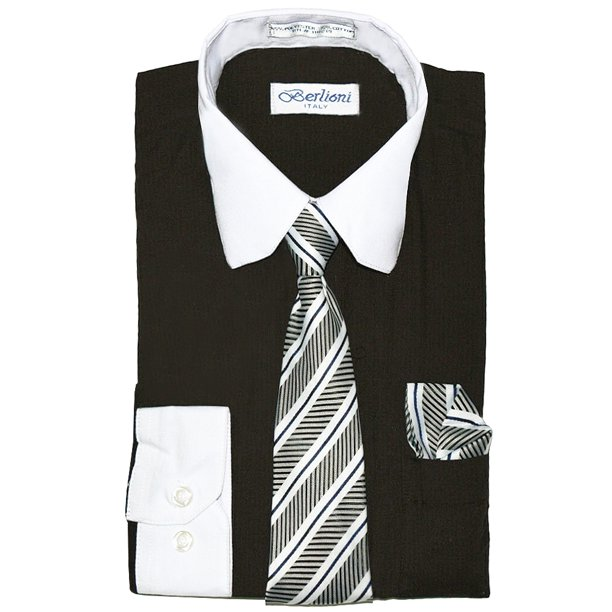 Berlioni Italy Toddlers Kids Boys Long Sleeve Dress Shirt Set With Tie & Hanky (Black/White, 20)