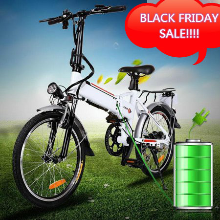 "Black Friday Sale! ANCHEER 18.7"" Folding Electric Bike Large Capacity Lithium-Ion Battery (36V 250W) and Shimano Gear,7 speeds Mountain Bicycle 30km/h, 330lbs Adjustable White Hifashion"
