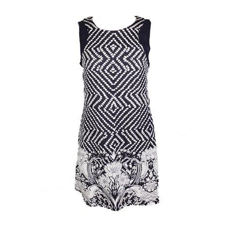 Inc International Concepts Navy White Illusion-Trim Mixed-Print Sheath Dress L (Trimmed Sheath Dress)