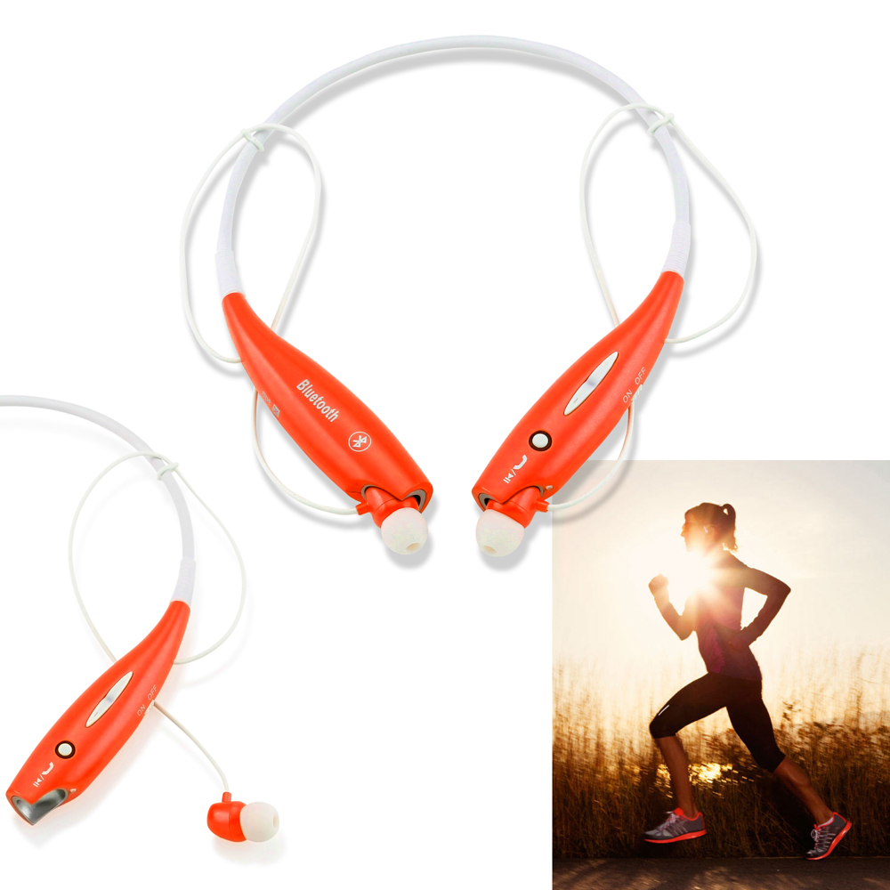 Wireless Stereo Bluetooth Sports Workout Gym Headset Neckband Earphone Earbuds Headphones for Cellphones iPhone Samsung Galaxy -Orange