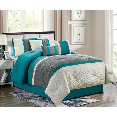 Enas 7 Piece Comforter Set Turquoise Gray Embroidered Bedding King Size