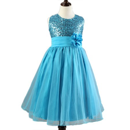 StylesILove Lovely Sequin Flower Girl Dress, 5 Colors (5-6 Years, - Flower Girl Blue Dress