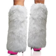 Rhode Island Novelty Rave Diva Costume White Sexy Furry Fuzzy Leg Warmers