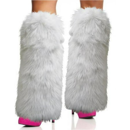 Rhode Island Novelty Rave Diva Costume White Sexy Furry Fuzzy Leg Warmers - Cheap Furry Leg Warmers