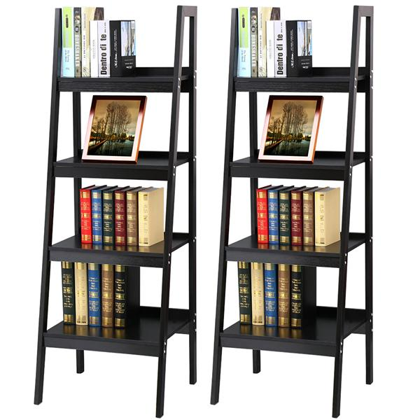 Yaheetech Pair of 4 Shelf Black Leaning Ladder Shelf Bookcase/Bookshelf Metal Corner Shelves Unit