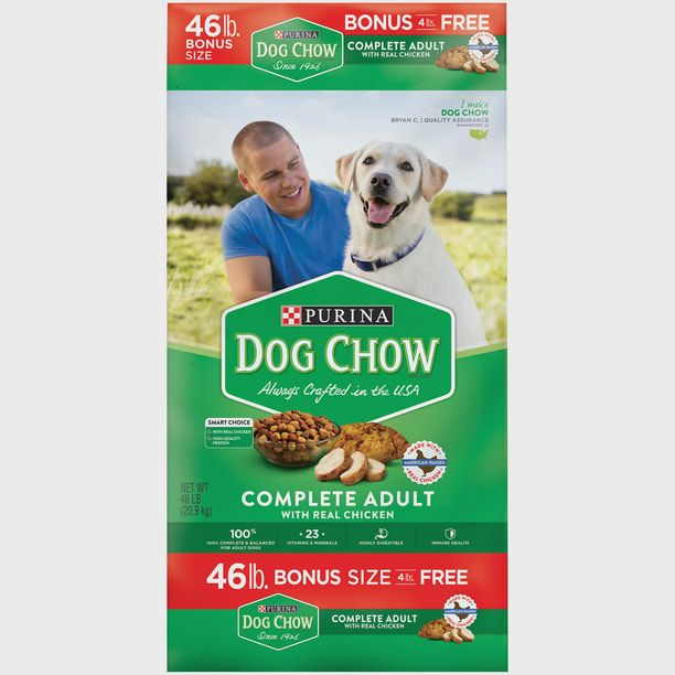 Purina Dog Chow Dry Dog Food, Complete Adult With Real Chicken, 46 lb. Bag