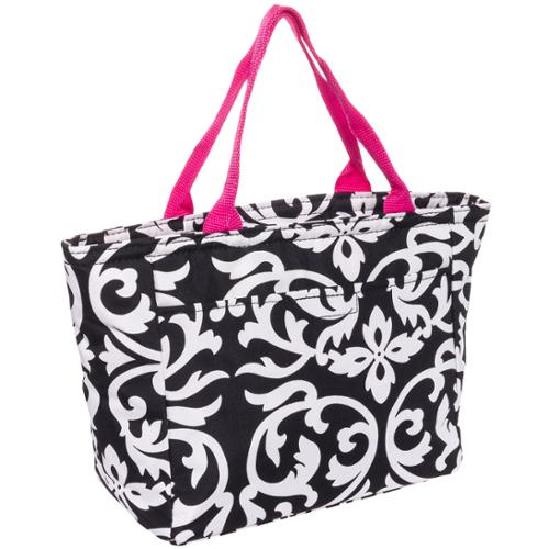 SILVERHOOKS NEW Womens Black & White Damask Insulated Lunch Tote Bag w/Pink Trim