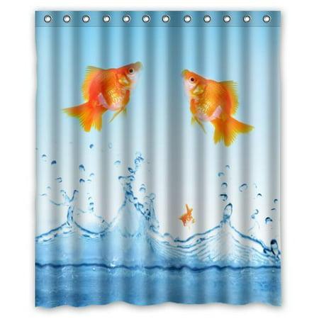 HelloDecor Goldfish Shower Curtain Polyester Fabric Bathroom Decorative Size 60x72 Inches