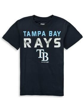 MLB Tampa Bay RAYS TEE Short Sleeve Boys Team Name and LOGO 100% Cotton Team Color 4-18