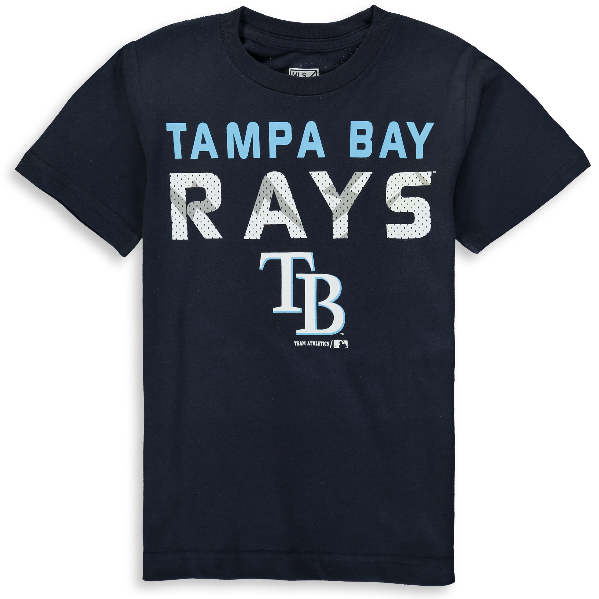 MLB Tampa Bay RAYS TEE Short Sleeve Boys Team Name and LOGO 100% Cotton Team Color 4-18