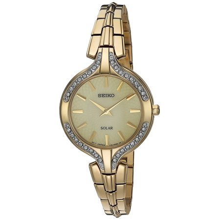 Gold Tone Floating Crystal Watch - Ladies Gold Tone Solar Watch with Swarovski Crystals