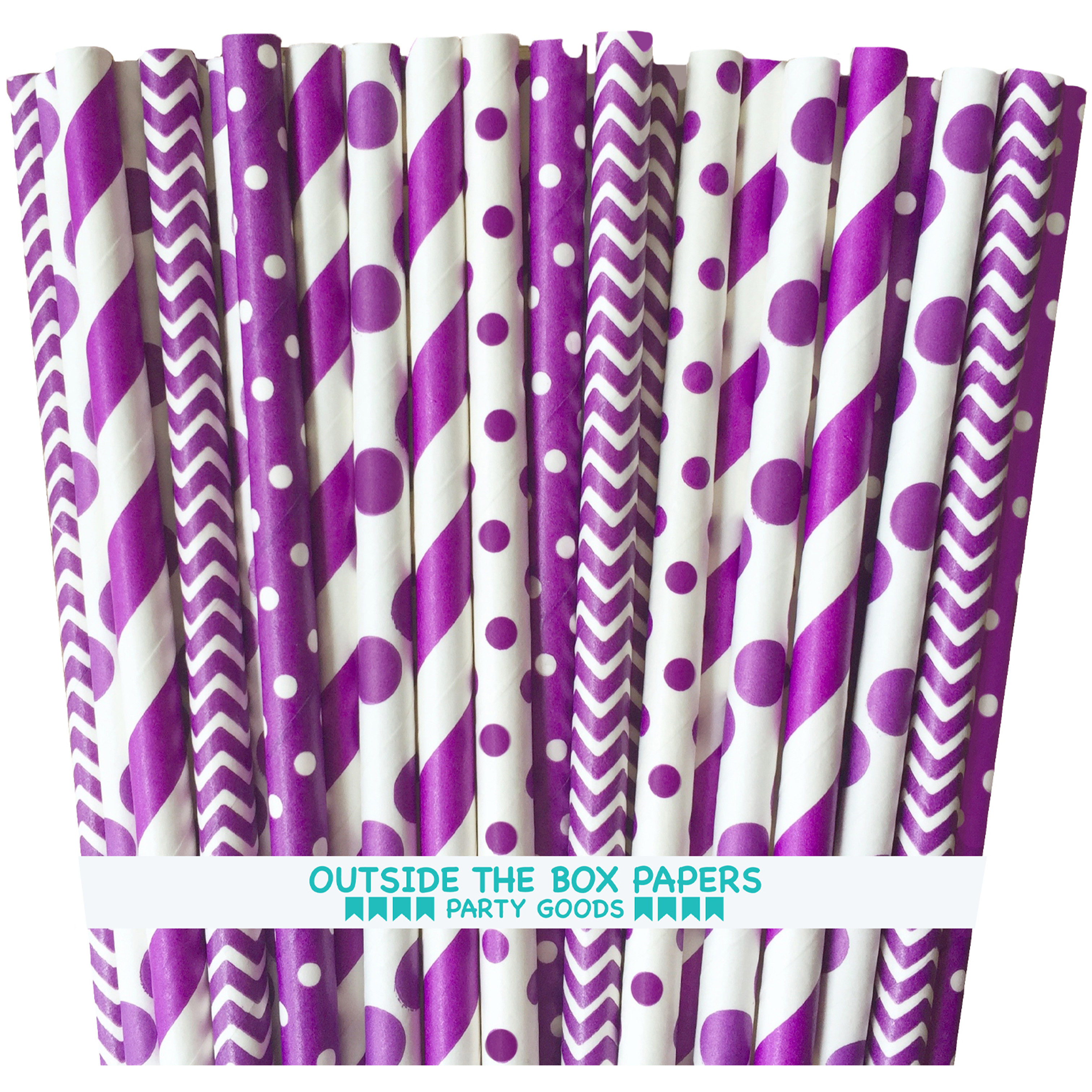 Purple Stripe, Chevron and Polka Dot Paper Straws  125 Pack