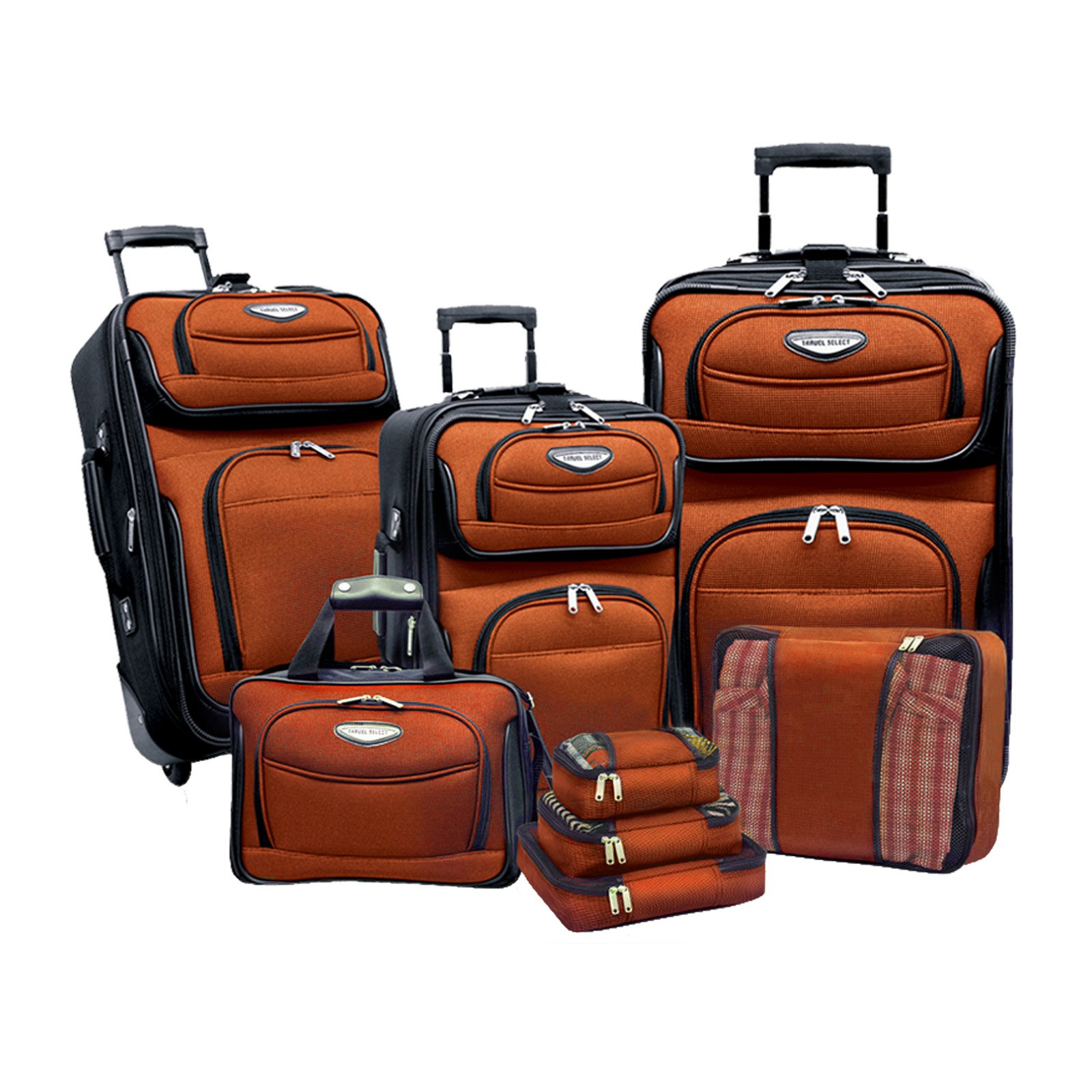 Traveler's Choice Travel Select Amsterdam 8-Piece Softshell Deluxe Expandable Rolling Luggage Set with Packing Cubes