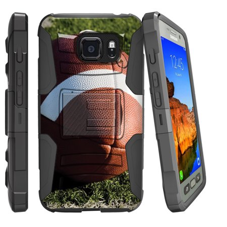 Samsung Galaxy [S7-ACTIVE G891/891A Model] Miniturtle® Clip Armor Dual Layer Case Rugged Exterior with Built in Kickstand + Holster - Football On
