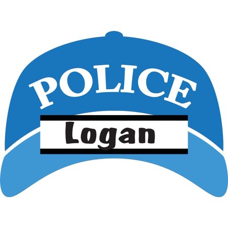 Personalized Name Vinyl Decal Sticker Custom Initial Wall Art Personalization Decor Bedroom Boy Policeman Cop Hat Cap 12 Inches x 12 Inches