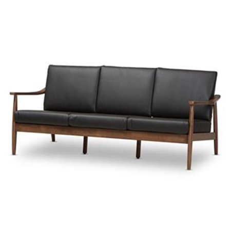 Baxton Studio Venza Mid-Century Modern Walnut Wood Black Faux Leather 3-Seater Sofa Modern Black Leather Sofa