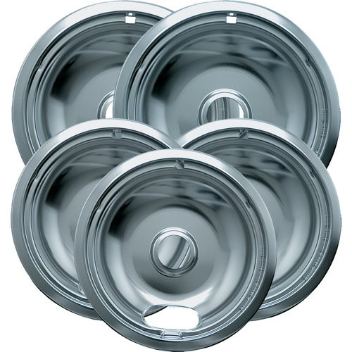 Range Kleen Range Accessories 6 in. 3-Small and 8 in. 2-Large Drip Bowl Plated (5-Pack) 12565X