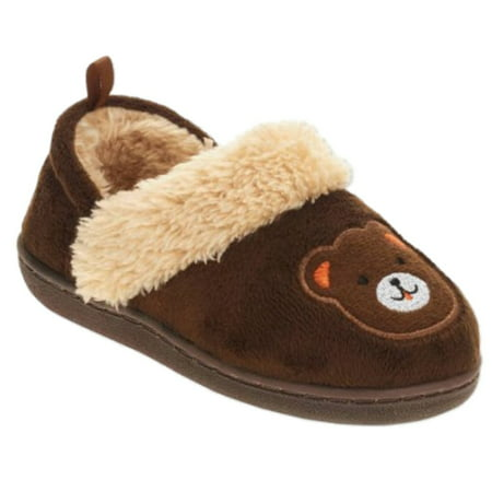 Toddler Boys Brown Teddy Bear Slippers Loafer House Shoes ...