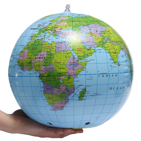 38CM Diameter Inflatable Earth World Globe Map Decoration Play on Beach Ball Geography Teaching Education Toy Fun Toy for Kids - Inflatable World Globe