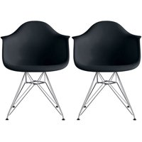 2xhome Set of 2 Black Mid Century Modern Industrial Plastic Dining Chairs Eiffel Molded With Arms Armchairs Chrome Metal Silver Legs Desk Accent Chair for Kitchen Furniture Office Living Room DSW