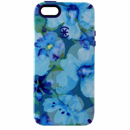 Speck CandyShell Inked Hybrid Case for iPhone 5/5s/SE - Floral Blue / Purple ()
