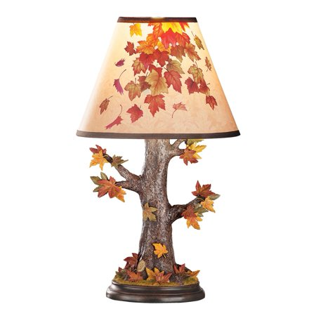Colorful Fall Tree Trunk and Leaves Table Top Lamp, Fall Home Decor for Any Room ()