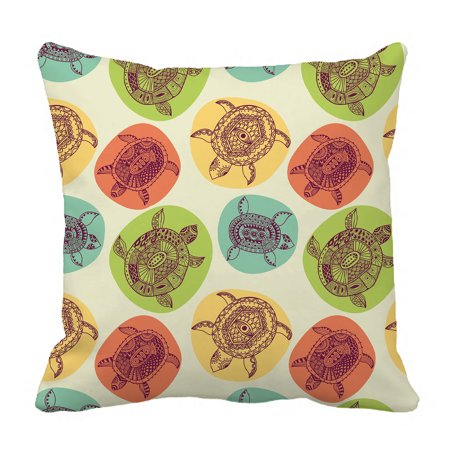 YKCG Animal Decor Sea Turtles Colorful Circle Pillowcase Pillow Cushion Case Cover Twin Sides 18x18 inches