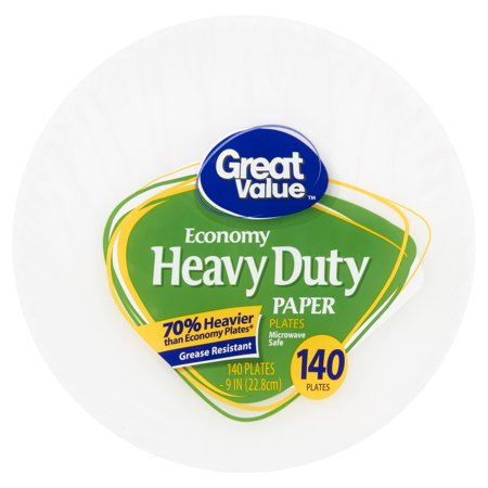 Great Value Heavy Duty Paper Lunch Plate, 9