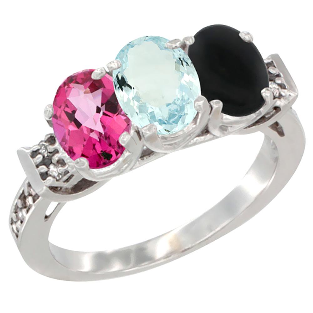 10K White Gold Natural Pink Topaz, Aquamarine & Black Onyx Ring 3-Stone Oval 7x5 mm Diamond Accent, sizes 5 10 by WorldJewels
