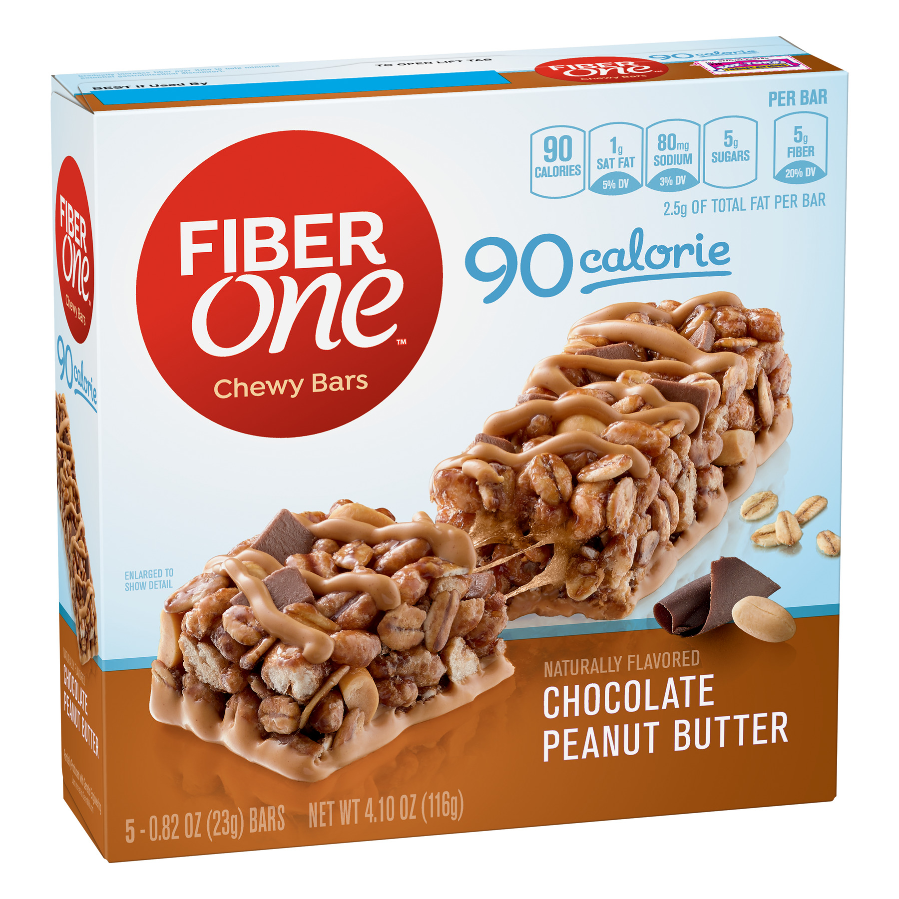 Fiber One 90 Calorie Chocolate Peanut Butter Bars, 4.1 oz